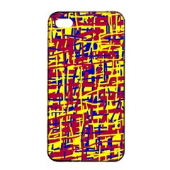 Red, yellow and blue pattern Apple iPhone 4/4s Seamless Case (Black)