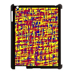Red, yellow and blue pattern Apple iPad 3/4 Case (Black)