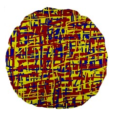 Red, yellow and blue pattern Large 18  Premium Round Cushions