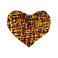 Red, yellow and blue pattern Standard 16  Premium Heart Shape Cushions