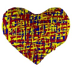 Red, yellow and blue pattern Large 19  Premium Heart Shape Cushions