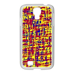 Red, yellow and blue pattern Samsung GALAXY S4 I9500/ I9505 Case (White)
