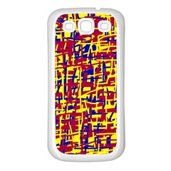Red, yellow and blue pattern Samsung Galaxy S3 Back Case (White)