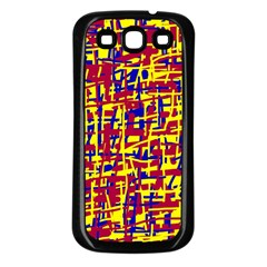 Red, yellow and blue pattern Samsung Galaxy S3 Back Case (Black)