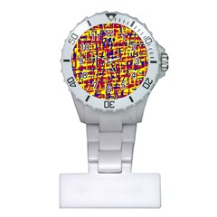 Red, yellow and blue pattern Plastic Nurses Watch