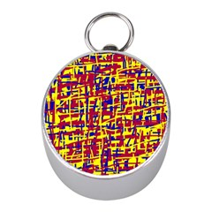 Red, yellow and blue pattern Mini Silver Compasses
