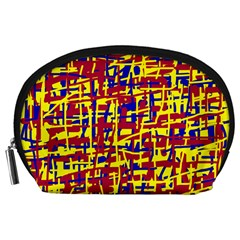 Red, yellow and blue pattern Accessory Pouches (Large)