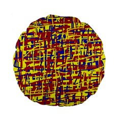 Red, yellow and blue pattern Standard 15  Premium Flano Round Cushions