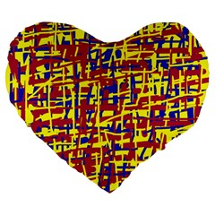 Red, yellow and blue pattern Large 19  Premium Flano Heart Shape Cushions
