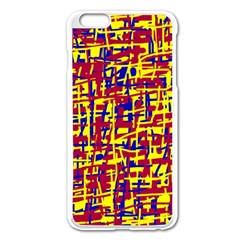 Red, yellow and blue pattern Apple iPhone 6 Plus/6S Plus Enamel White Case
