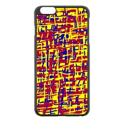 Red, yellow and blue pattern Apple iPhone 6 Plus/6S Plus Black Enamel Case