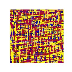 Red, yellow and blue pattern Small Satin Scarf (Square)