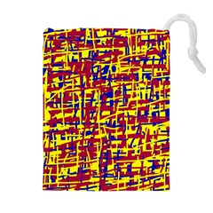 Red, yellow and blue pattern Drawstring Pouches (Extra Large)