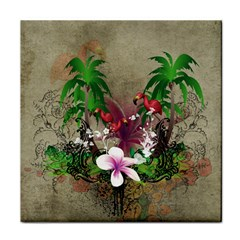 Wonderful Tropical Design With Palm And Flamingo Tile Coasters