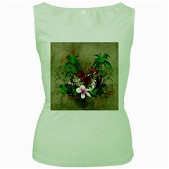 Wonderful Tropical Design With Palm And Flamingo Women s Green Tank Top