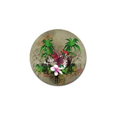 Wonderful Tropical Design With Palm And Flamingo Golf Ball Marker (4 pack)