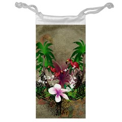 Wonderful Tropical Design With Palm And Flamingo Jewelry Bags