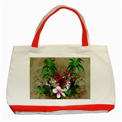 Wonderful Tropical Design With Palm And Flamingo Classic Tote Bag (red)