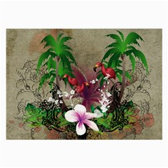 Wonderful Tropical Design With Palm And Flamingo Large Glasses Cloth (2-Side)