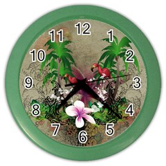Wonderful Tropical Design With Palm And Flamingo Color Wall Clocks