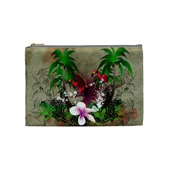 Wonderful Tropical Design With Palm And Flamingo Cosmetic Bag (Medium)