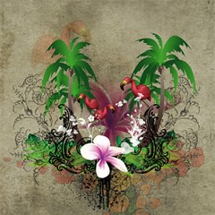 Wonderful Tropical Design With Palm And Flamingo Magic Photo Cubes