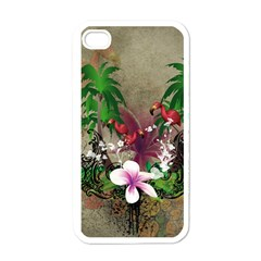 Wonderful Tropical Design With Palm And Flamingo Apple iPhone 4 Case (White)