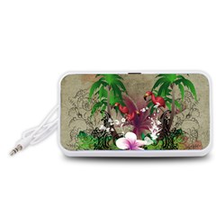 Wonderful Tropical Design With Palm And Flamingo Portable Speaker (White)