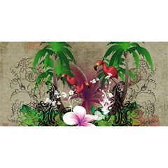 Wonderful Tropical Design With Palm And Flamingo You Are Invited 3d Greeting Card (8x4)