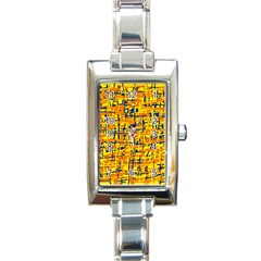 Yellow, orange and blue pattern Rectangle Italian Charm Watch