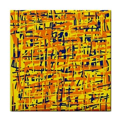 Yellow, orange and blue pattern Tile Coasters