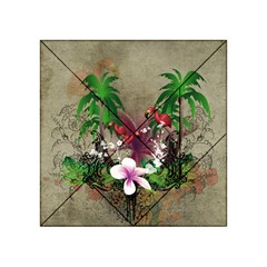 Wonderful Tropical Design With Palm And Flamingo Acrylic Tangram Puzzle (4  x 4 )