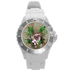 Wonderful Tropical Design With Palm And Flamingo Round Plastic Sport Watch (L)