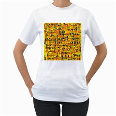 Yellow, orange and blue pattern Women s T-Shirt (White) (Two Sided)