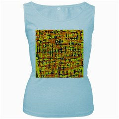 Yellow, orange and blue pattern Women s Baby Blue Tank Top