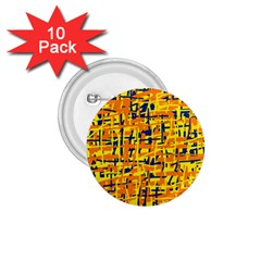 Yellow, orange and blue pattern 1.75  Buttons (10 pack)
