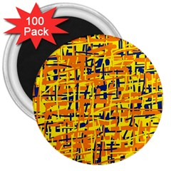 Yellow, orange and blue pattern 3  Magnets (100 pack)