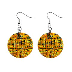 Yellow, orange and blue pattern Mini Button Earrings