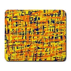 Yellow, orange and blue pattern Large Mousepads
