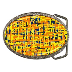 Yellow, orange and blue pattern Belt Buckles