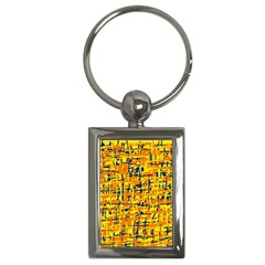 Yellow, orange and blue pattern Key Chains (Rectangle)