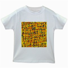 Yellow, orange and blue pattern Kids White T-Shirts