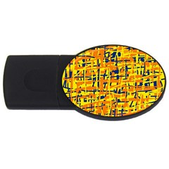Yellow, orange and blue pattern USB Flash Drive Oval (2 GB)