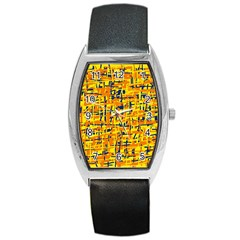 Yellow, Orange And Blue Pattern Barrel Style Metal Watch