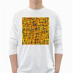 Yellow, orange and blue pattern White Long Sleeve T-Shirts