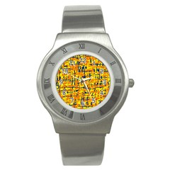 Yellow, orange and blue pattern Stainless Steel Watch