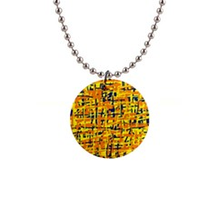 Yellow, orange and blue pattern Button Necklaces