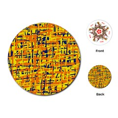 Yellow, orange and blue pattern Playing Cards (Round)