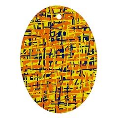 Yellow, orange and blue pattern Oval Ornament (Two Sides)