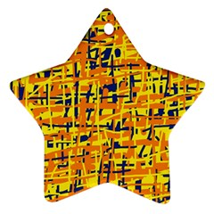 Yellow, orange and blue pattern Star Ornament (Two Sides)